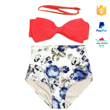 Wholesale 2016 two pieces swimwear high waist bikini for young grils