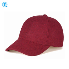 Custom 6 Panel Burgundy Red Wool Baseball Cap, Wool Dad Hat Men Women, Wool Felt Hat Blank Wholesale