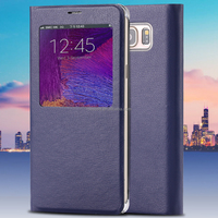Note 5 View Window Cases Fashion Smart Sleep PU Leather Case For Samsung Galaxy Note 5 N9200 Stand Holster Cover With Logo Ba
