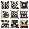Linen Cotton Photo Digitald Print Sofa Vintage Cushion Cover Black White Geometry THrow Body Pillow Case HT-PCILPC-J-09-15