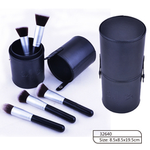 Meidao Hot sale cosmetic beauty brushes 5 pcs makeup brush set with cylinder leather bag