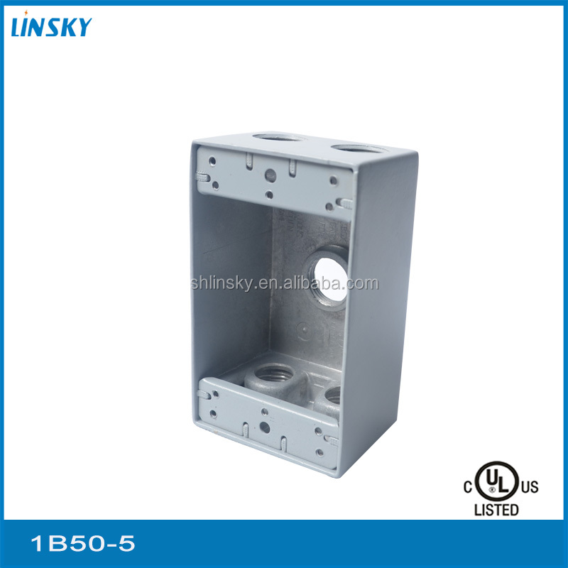 "Aluminium die cast junction box 3/4""hole 5 outlet hole 18.3 cubic inch electrical junction box metal 2 gang junction box"