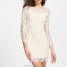 Classy Women White Lace Dresses Bodycon Floral Crochet Lace Long sleeve Midi Elegant Sheath Pencil Party Dresses