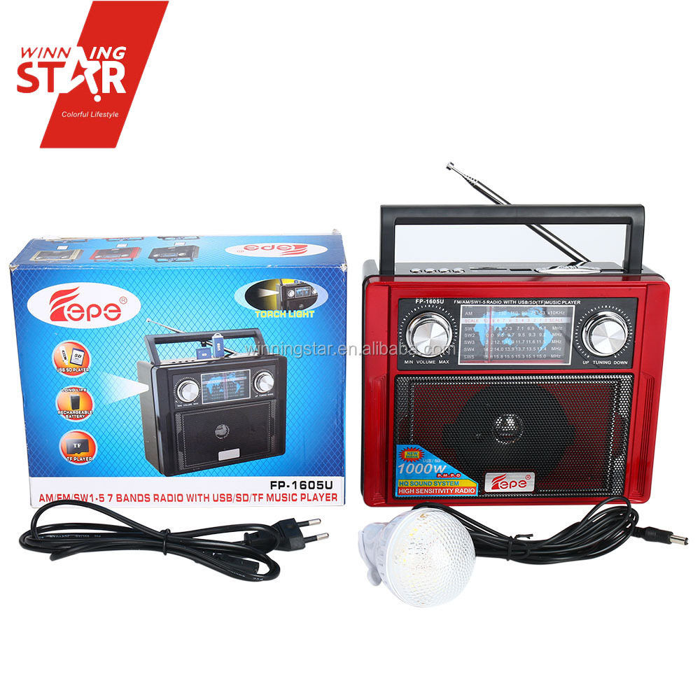 am/fm radio with USB/TF wireless radio with LED Bulb suit for outdoor and camping