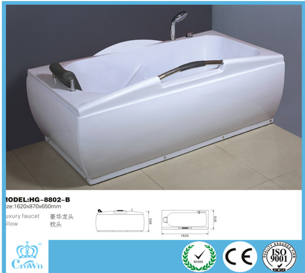 HG-8802-B white rectangular simple cheap portable indoor hotel/home corner whirlpool massage bathtubs wholesale