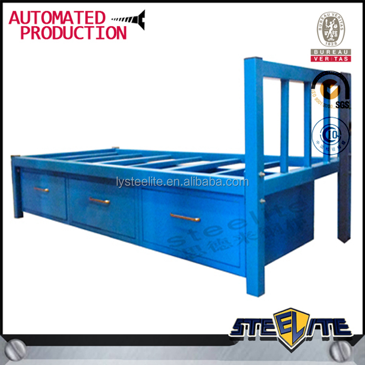 Metal Single Cot Bed With Drawer Baby Kids Low Height