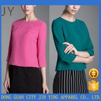 2016 Ladies Office Three Quarter Sleeve Short Tops Women Clothing China Wholesale