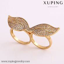 11930 Factory supply18k gold color double finger ring