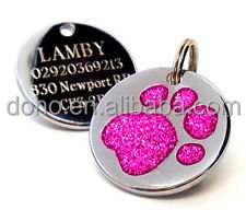 Low price custom puppy dog tags high quality Personalised Engraved 25mm Glitter Pink Paw Print Dog Pet ID Tag