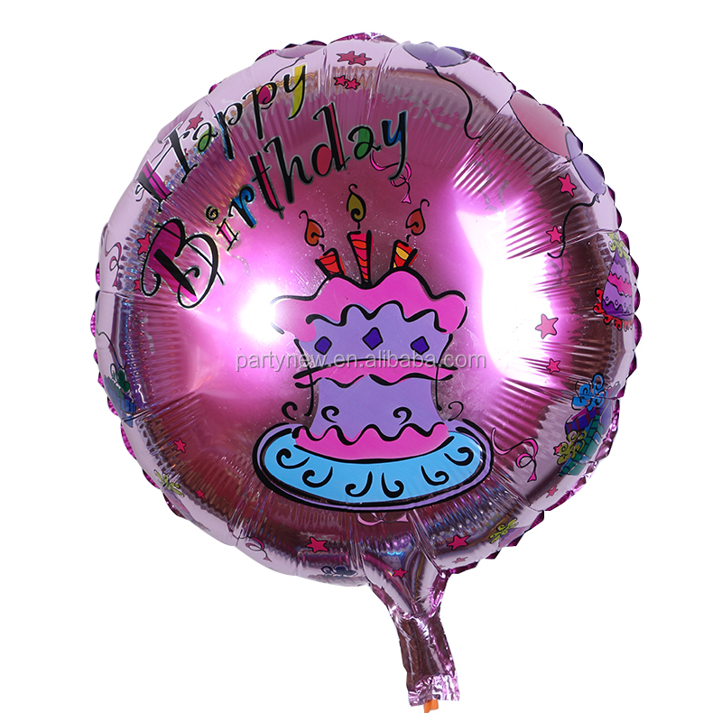 Happy Birthday Cake Printed Foil Balloon, 18inch Round Printed Alumilnum Balloon for Baby birthday Party Decoration