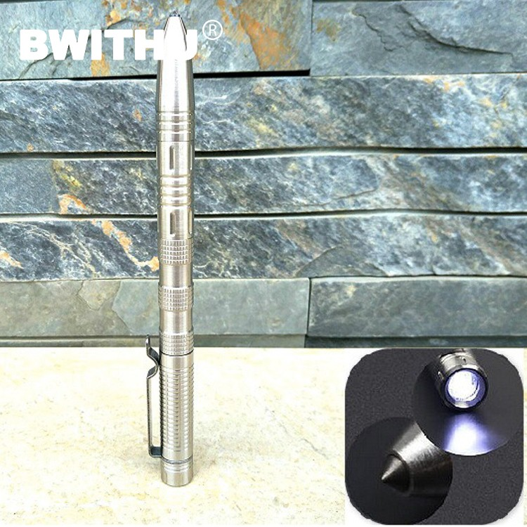 Hot-selling new design high-grade stainless steel refined LED tactical defense pen