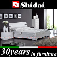 B54 modern white gloss bedroom furniture / hand made wooden bed / queen size bed price
