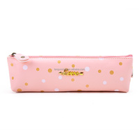 Languo school pencil case love design candy color round spot leather pencil case