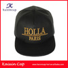 custom made gold 3D embroidery faux leather snapback cap/ black cap with gold embroidery/printing