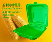 1000ml disposable biodegradable corn starch plastic packaging food box