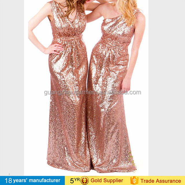 Sparkly rose gold champagne infinity bridesmaid long wedding party dresses for women with sequins