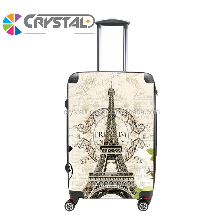 Design your own funny eiffel tower suitcase , print hardshell pc luggage