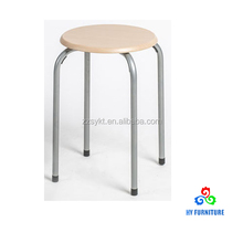 Stable metal steel frame round wooden top stacking stool