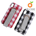 Cheap price tartan design phone cover with belt for iphone 8