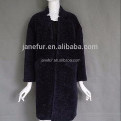 Slim style real lamb leather shelling and genuine shearing sheep fur as lining coat jacket long size