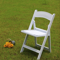 white outdoor wedding padded resin folding chair