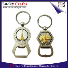 Custom aluminium alloy metal keychain key tag chain ring bottle opener with keyring