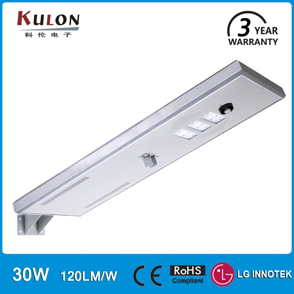 Aluminium body motion sensor solar <strong>energy</strong> integrated led street light 30W