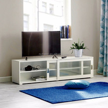 Wood lcd tv stand storage cabinet with glass sliding door design