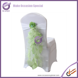 #703 hot sale elegant wholesale chiffon ruffled wedding ivory chair covers and sashes from china wedding chair sashes