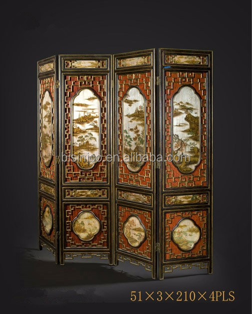 Traditional Chinese Furniture Hand Painting Four Panel