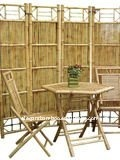 bamboo table chair with screen