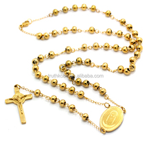 Religious Catholic Stainless Steel Mother Mario Rosary Necklace New Jesus Cross