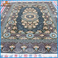 blue quality handmade 100% silk qum persian area rugs