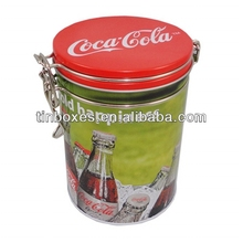 round metal coffee tin with inner lid