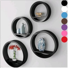 Euro round shelf set of 4 MDF material painting finished wall shelf hot sales