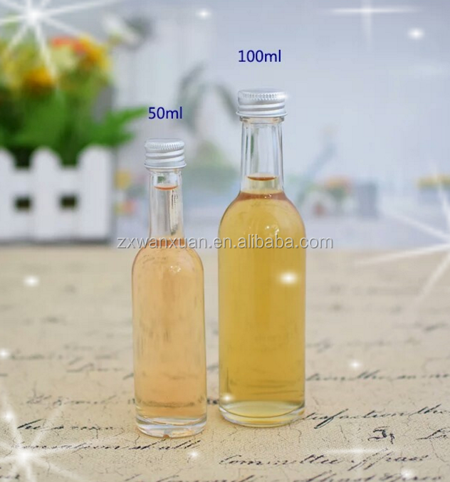 high quality mini small 50ml 100ml clear glass wine bottle glass vodka glass whisky bottle with aluminum cap