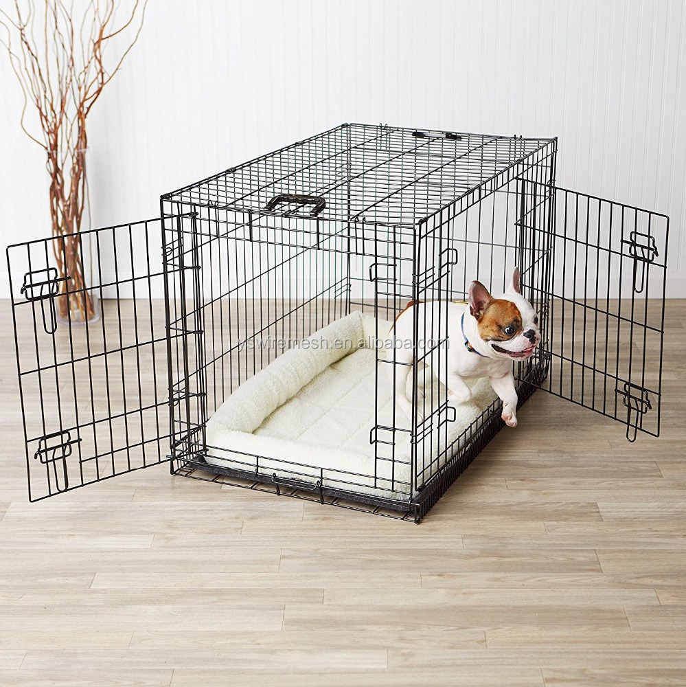 Wholesale Two Doors Pets Cages for Dog/Cat/Rabbit Cage Folding Metal Dog Crate with Paw Protector