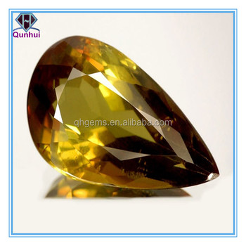 special golden yellow pear shaped cz stone