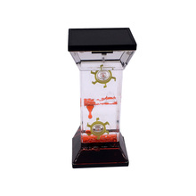 Red Color Plastic Acrylic Oil Liquid Hourglass Timer with Two Wheels in Home Decor Hourglasses