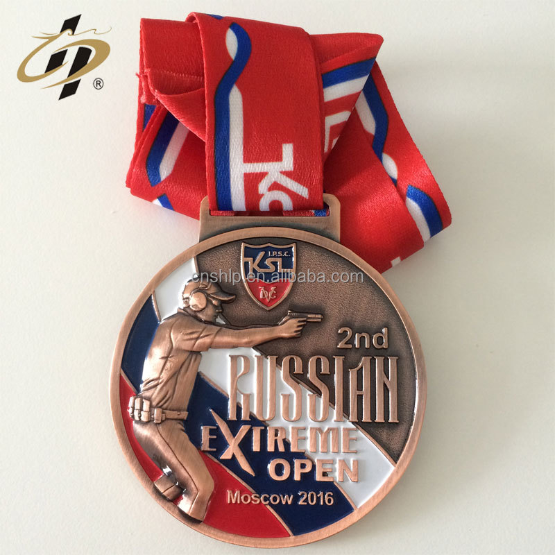 Die casting custom zinc alloy antique bronze russia shoot sports challenge metal medal