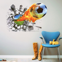 LC7001 3D football fire wall sticker