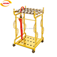 commercial ss umbrella rack with 4 wheels and gold plated umbrella stand umbrella slot J-039