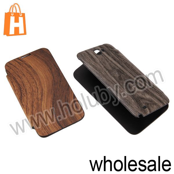 Housing Battery Cover+Wood Pattern Leather Case for Samsung Galaxy Note 2 N7100