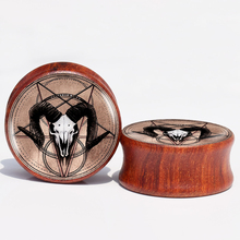 Baphomet Red Wood Ear Plugs and Tunnel,Ear Gauges Stretcher Expander