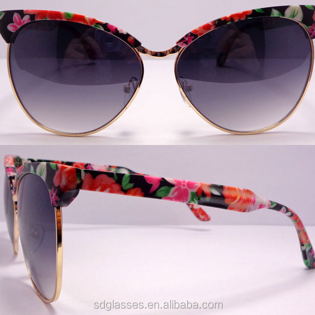 China Supplier beautiful flower printing frame 2015 Wholesale New Style butterfly Shape Sunglasses women