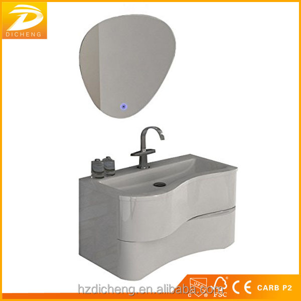 Hangzhou New Arrival PVC Film Luxury Bathroom Vanity Cabinets With LED Mirror Wih Curved Door