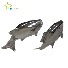Silver polished metal stainless steel fish wall sculpture