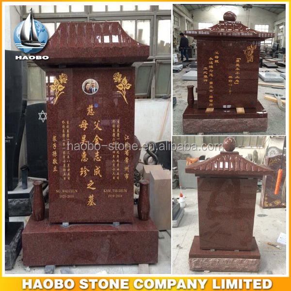 Custom Carved Indian Red Granite Chinese Grave Markers