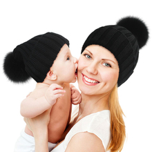 QC7002 best quality 100% wool knitted beanie hats with natural fox fur pom poms for children christmas gift
