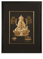 Religious gold foil poster with picture frame/Gold foil India God picture/ganesh photo
